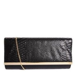 New Look Mock Snake Print Black Chelsea Clutch Bag
